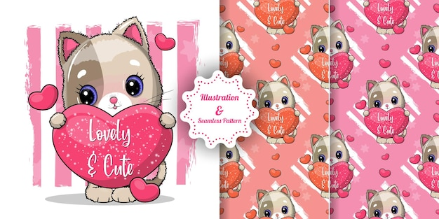 Cute cat with big hearts for valentine. invitation card and pattern set