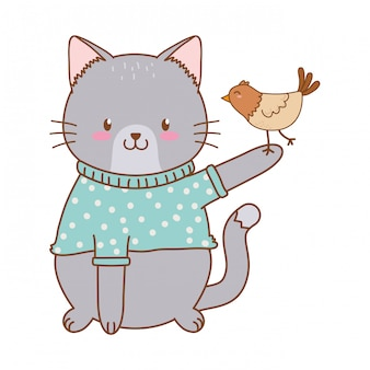 Cute cat with bird woodland character