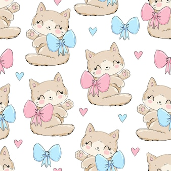 Cute cat with bow sketch seamless pattern