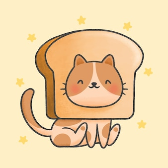 Cute cat with bread hat cartoon hand drawn style