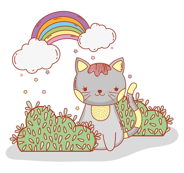 Cute cat with bushes and rainbow clouds
