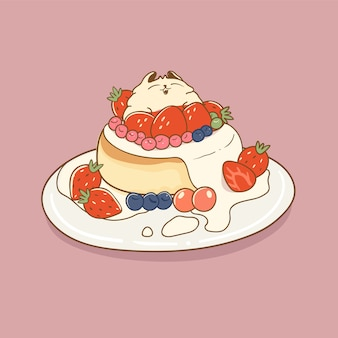 Cute cat with cake