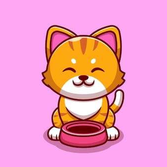 Cute cat with cat bowl cartoon icon illustration.