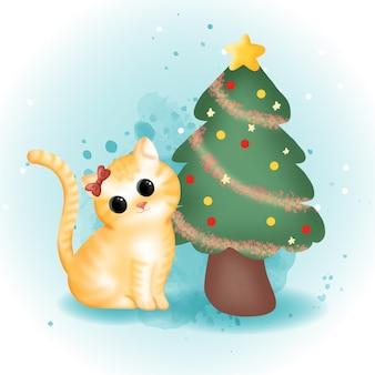 Милый кот с деревом chrismat в день рождества.