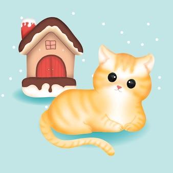 Милый кот с рождеством украшает в день рождества