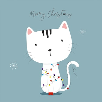 Cute cat with christmas lights. happy holidays greeting card.