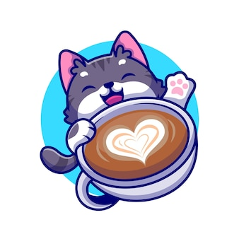Cute cat with coffee cup cartoon icon illustration.
