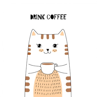 Cute cat with coffee.