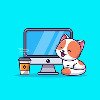 コンピューターとコーヒー漫画アイコンイラストのかわいい猫。分離された動物技術アイコンコンセプト。フラット漫画スタイル