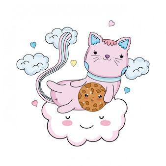Cute cat with cookie in cloud