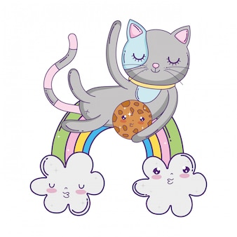 Cute cat with cookie in rainbow