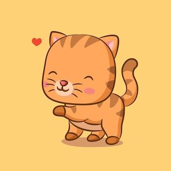 Милый кот с милым выражением лица, полный сердца