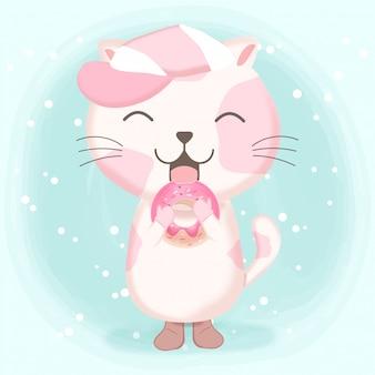 Cute cat with donut cartoon illustration