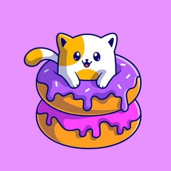 Cute cat with doughnut cartoon vector icon illustration. animal food icon concept isolated premium vector. flat cartoon style