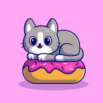 Cute cat with doughnut. flat cartoon style