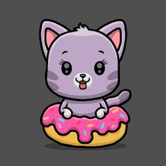 Милый кот с пончиком, изолированные на черном фоне.
