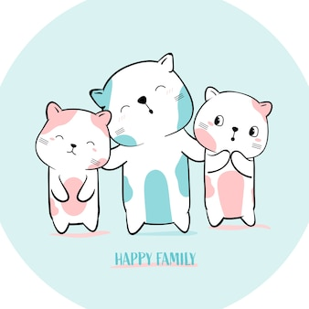 Cute cat with family animal hand drawn style