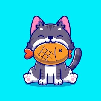 Милый кот с рыбой мультяшный значок иллюстрации.