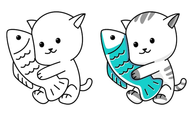 Раскраска милый кот с рыбкой для детей