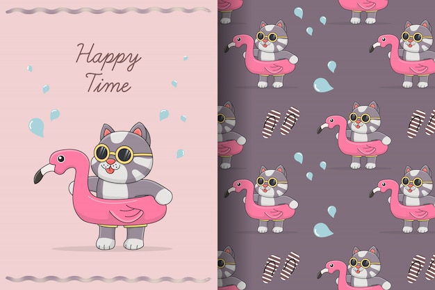 Cute cat with flamingo rubber seamless pattern and card