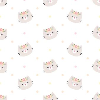 花の王冠のシームレスなパターンを持つかわいい猫