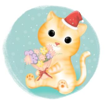 Милый кот с цветком на рождество.