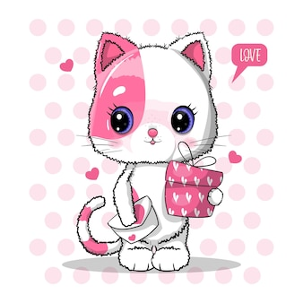 Cute cat with gift box for valentine's day   illustration