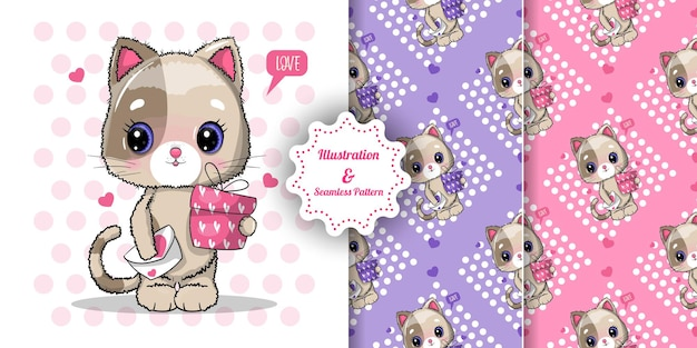 Cute cat with gift box for valentine's day and pattern set