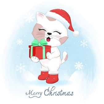 Cute cat with gift box in winter and christmas illustration