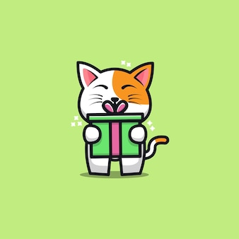 Cute cat with gift  cartoon   illustration