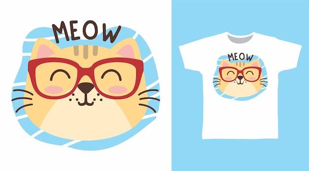 Tシャツのデザインのためのメガネとかわいい猫