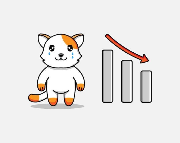 Милый кот с графиком вниз знак
