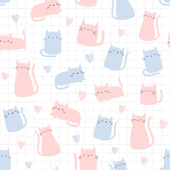 Cute cat with grid cartoon doodle seamless pattern