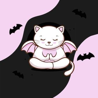 ハロウィーンの無料ベクトルとかわいい猫