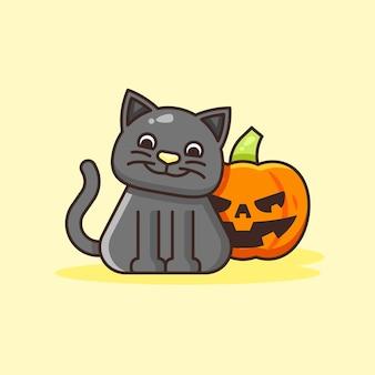 Милый кот с иллюстрацией тыквы хэллоуина.