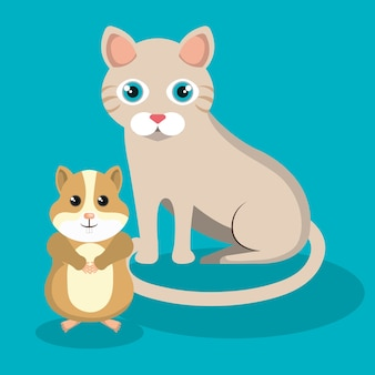Cute cat with hamster mascot icon