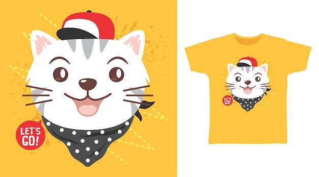 모자와 반다나 티셔츠 디자인이 있는 귀여운 고양이