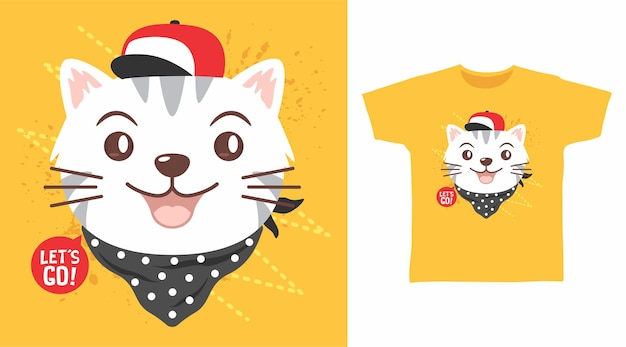 Cute cat with hat and bandana tshirt design