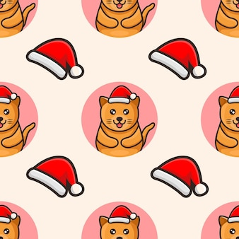 帽子のクリスマスパターンのデザインでかわいい猫