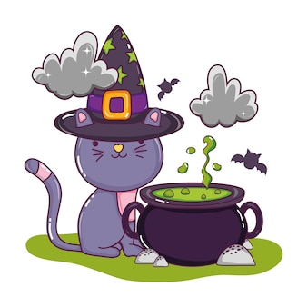 Cute cat with hat and pot cauldron