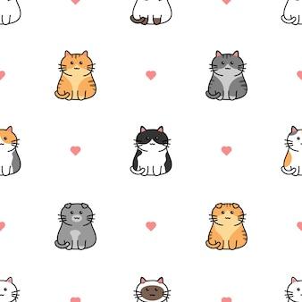 Cute cat with heart cartoon seamless pattern