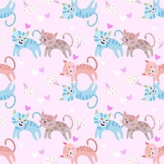 ハート形のシームレスパターンを持つかわいい猫。