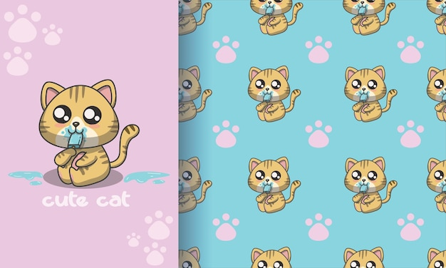 Cute cat with ice cream seamless pattern