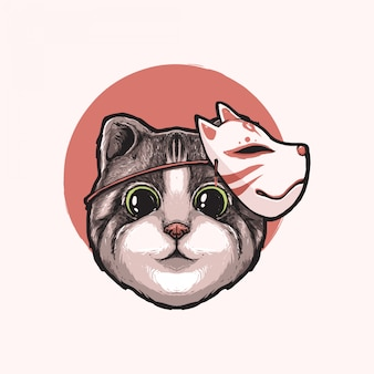 Cute cat with japanese kitsune mask hand drawn illustration