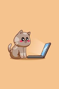 Милый кот с иллюстрацией шаржа ноутбука