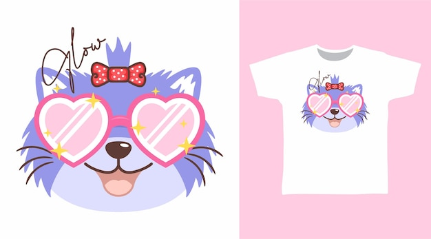 Cute cat with love glasses tshirt design