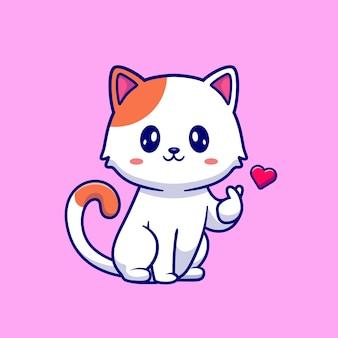 Gatto sveglio con l'illustrazione del fumetto della mano del segno di amore. concetto di natura animale isolato. stile cartone animato piatto