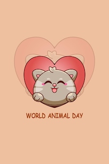 Cute cat with love in world animal day cartoon illustration