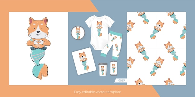 Cute cat with mermaid custom for merch and seamless pattern