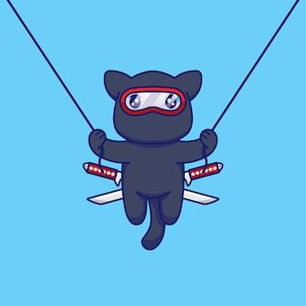 Милый кот в костюме ниндзя прыгает и летает на веревке
